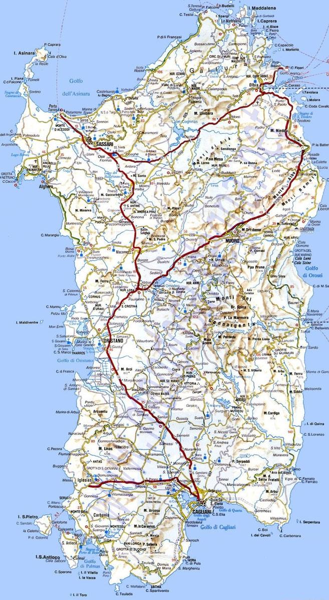 Sardegna Cartina Spiagge.Sardegna Cartina Utile Mari Strade Citta Pianeta Alghero