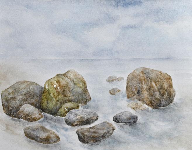 Granulierende Aquarellfarben von Daniel Smith. Landschaft mit Steinen.