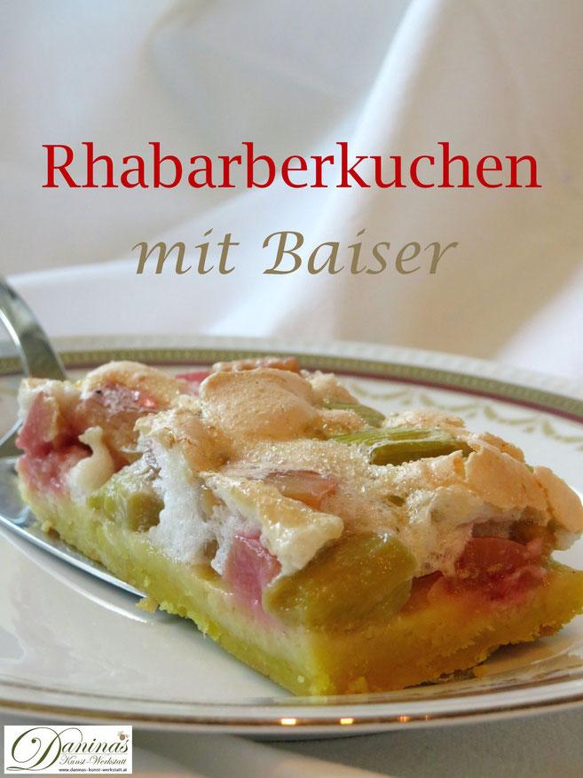 Rhabarberkuchen mit Baiser. Konditor-Rezept mit Schritt für Schritt Anleitung.