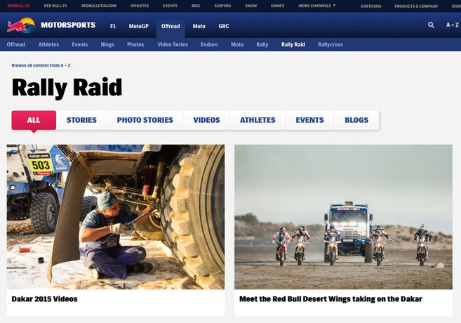 Red Bull Dakar Website