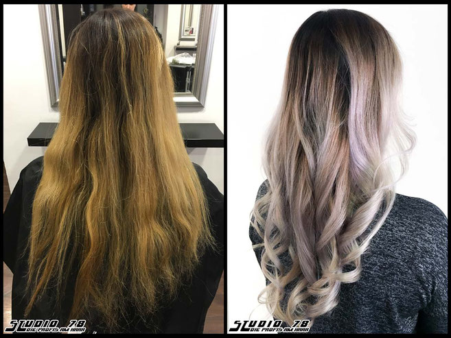 Coloration Haarfarbe blonde nude balayage coloration vorher nachher