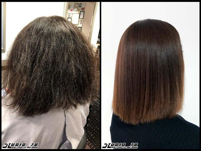 Kerasilk Keratin permanente Haarglättung extreme hair-straightening permanent straightening vorher nachher