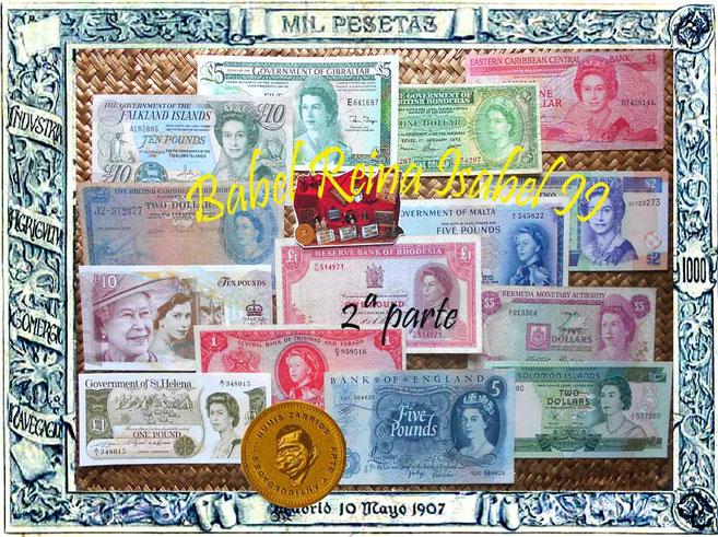 Un paseo por los billetarios de la Reina Isabel II extendidos por el Mundo