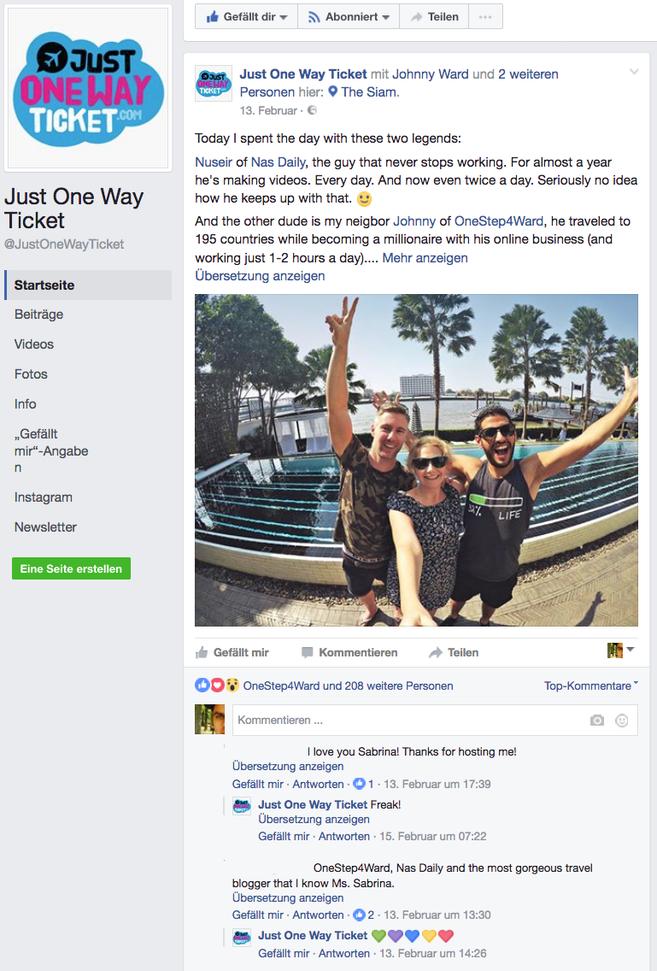 Facebook-Seite von JustOneWayTicket.com