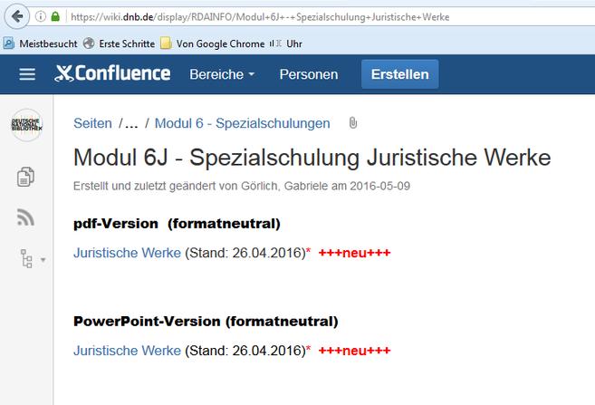 Die aktualisierte Schulungsunterlage zu den juristischen Werken im RDA-Info-Wiki