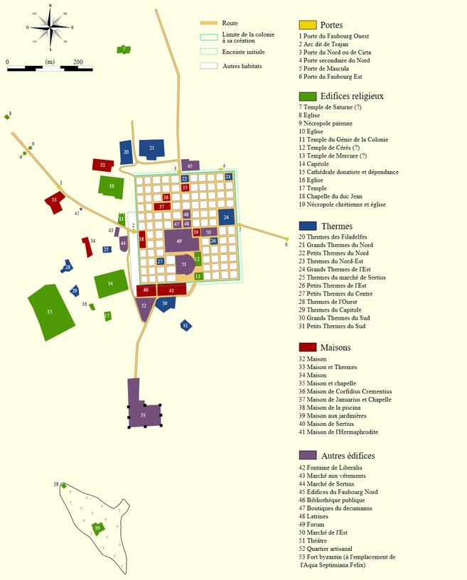 Timgad (Thamugadi) : Plan du site