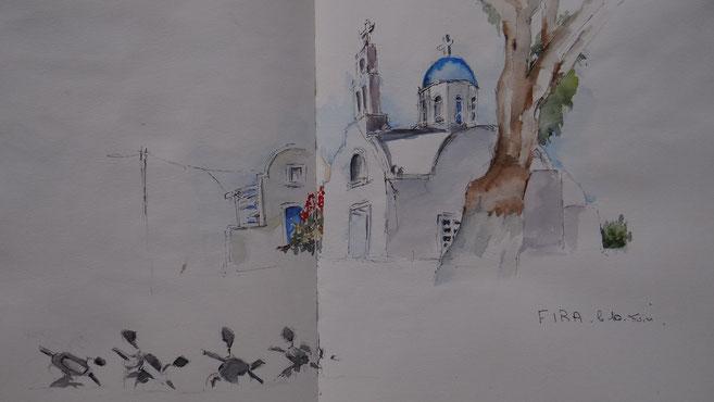 Eglise avec mobylettes