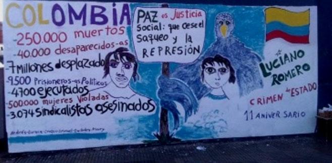 """Et vægmaleri i Colombia tematiserer konfliktens ofre og kræver """"Fred med social retfærdighed"""""""