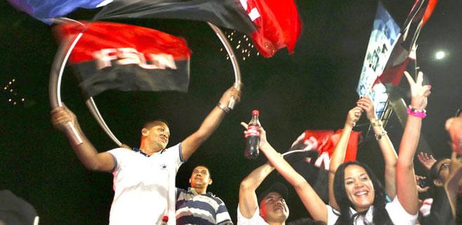 Fest i Managuas gader efter valgsejren
