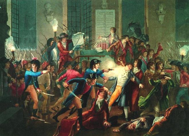 Konventets tropper trænger ind i Rådhuset hvor Robespierre og hans tilhængere havde søgt tilflugt