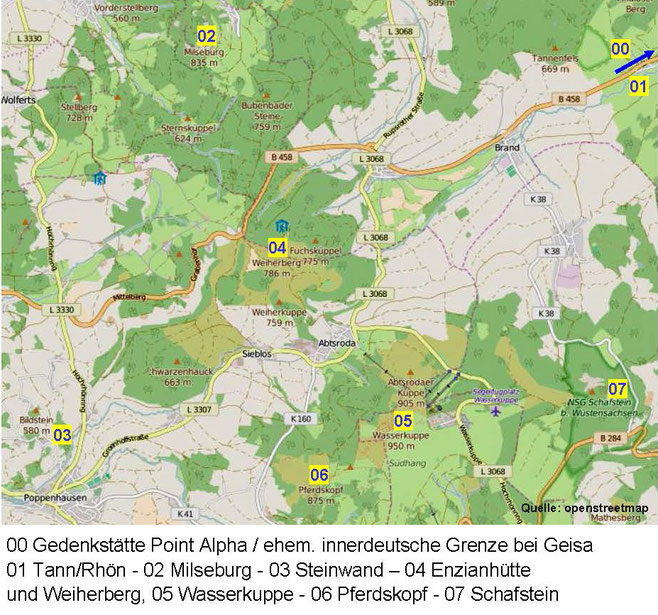 Kärtchen 1: Nördliche Rhön (Quelle: openstreetmap, Lizenz CC-BY-SA 2.0).