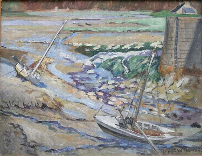 Le bateau carrelet « Laisse les dire »  un wary (un grand doris) construit à la Landriais en 1929 pour Ferdinand Lenoir (dessin de Yvonne Jean Haffen), il est le seul de ce type (dessin de Yvonne Jean Haffen)