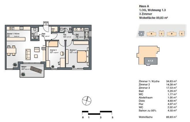 3-Zimmer-Wohnung mit einer Wohnfläche von 89,83 qm.