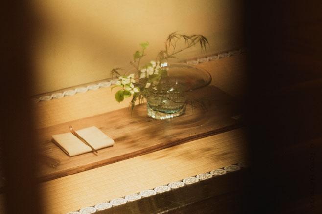 呈茶席で用いられた拙作の茶杓と草野啓利さんのガラス器