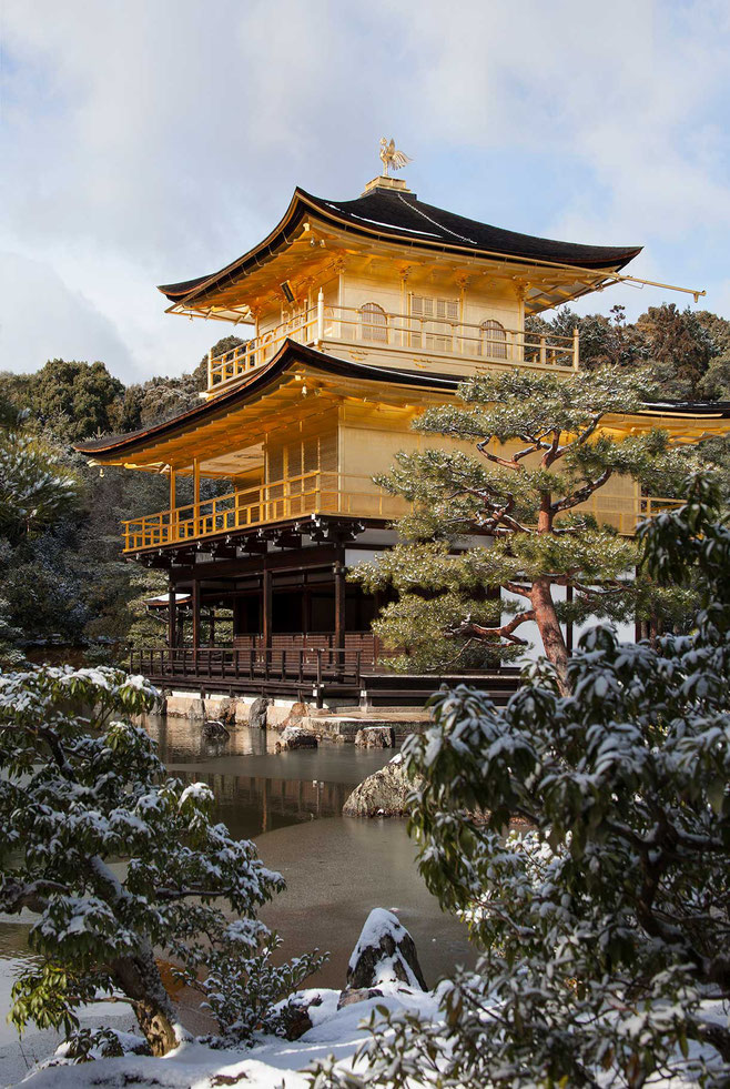 Kinkaku-Ji, beautiful Unesco World Heritage Golden Temple in Kyoto, winter and snow, Japan, 1221x1820px