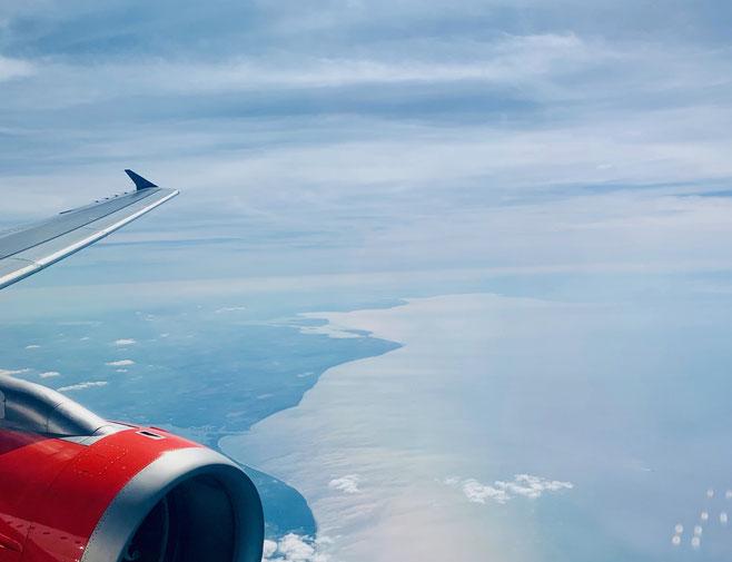 In volo sopra la costa tirrenica