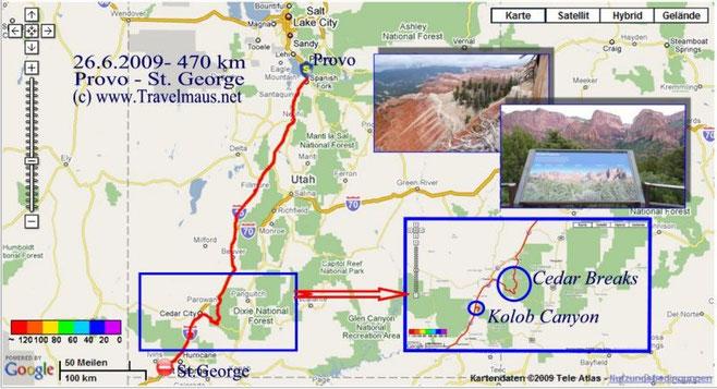 26.6.2009 Provo - Saint George 470 km