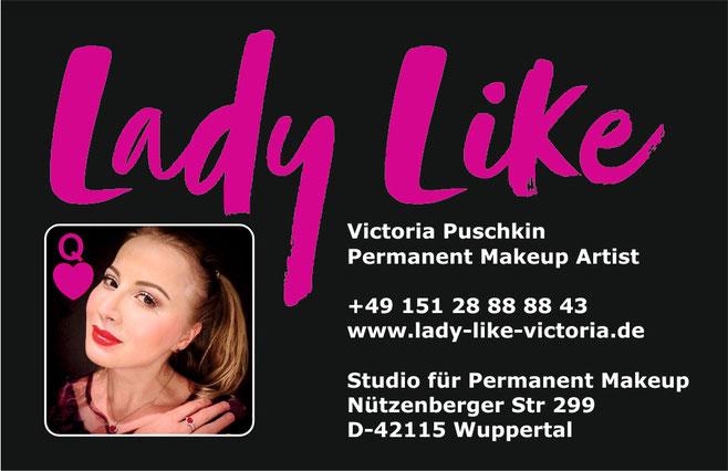 Visitenkarte Permanent Make-up Studio in Wuppertal , NRW