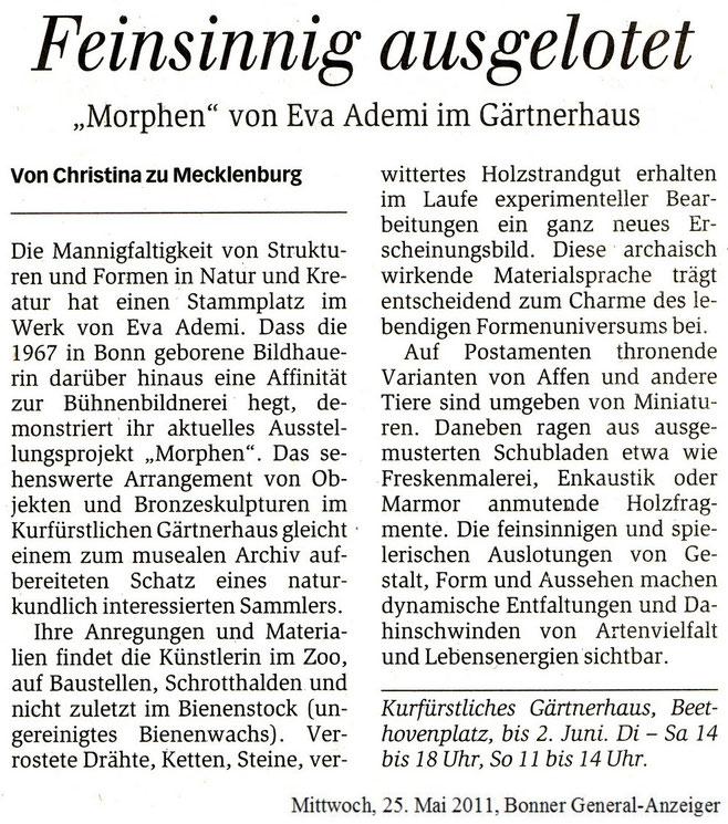 Artikel im Bonner General-Anzeiger zur Ausstellung Morphen im Kurfürstlichen Gärtnerhaus