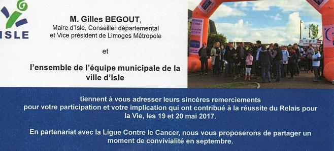 Remerciements de la Mairie d'Isle par le Relais pour la Vie