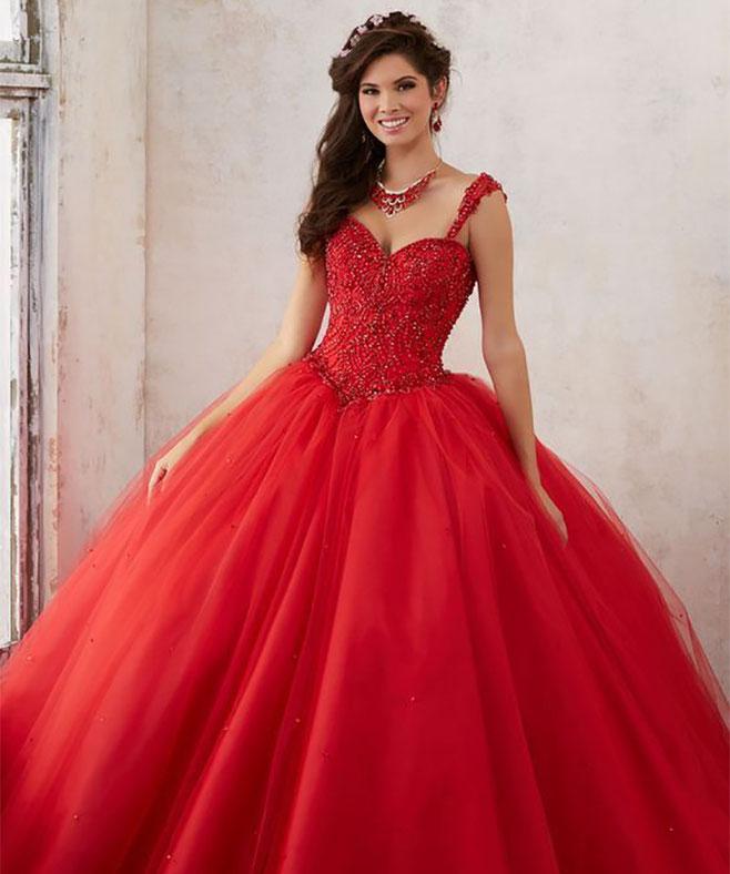 vestido rojo quinceañera