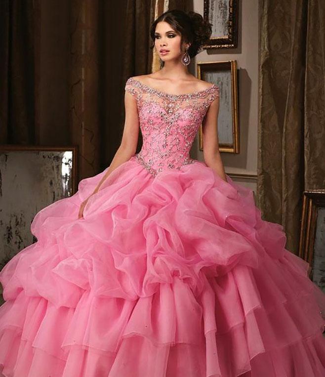 vestido quinceañera color rosa