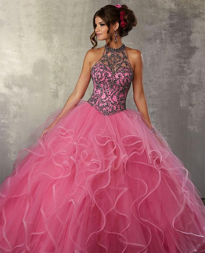 vestido rosa para 15 años