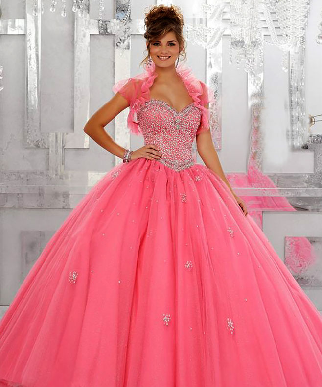 vestido 15 color rosa