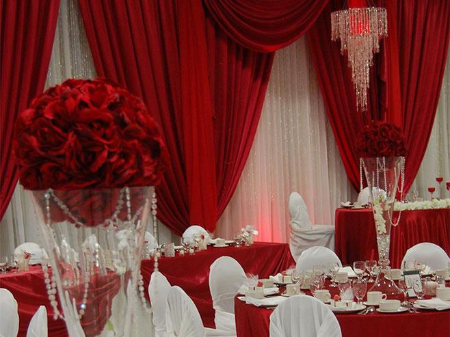 telas rojas para boda