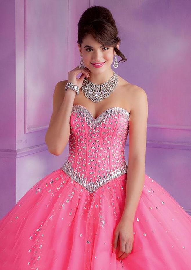 vestido rosa para xv años