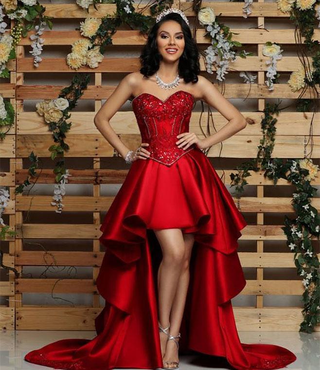 vestido rojo para xv años