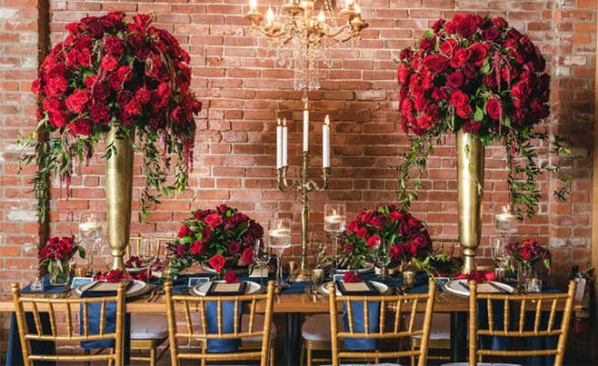 flores rojas para boda