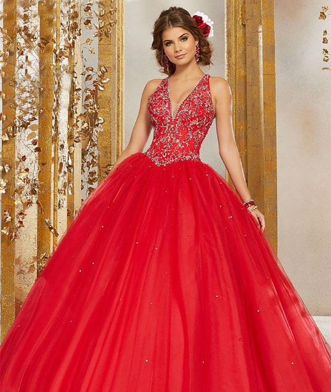 vestido rojo para 15 años