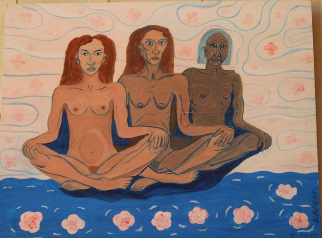 peinture sur bois. trois femmes.