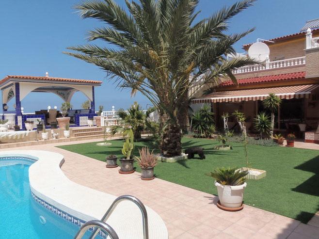 Pool mit angrenzenden Garten und Blick auf das Meer von Teneriffa