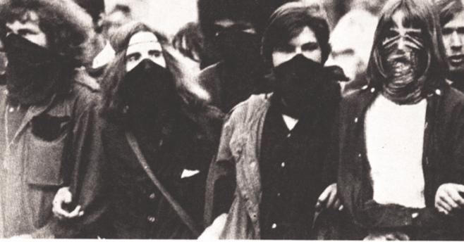"""Demoblok af Vestberlins """"Haschrebellen"""" i starten af 1970"""