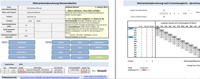 Mehrarbeitsabrechnung Excel Tabelle