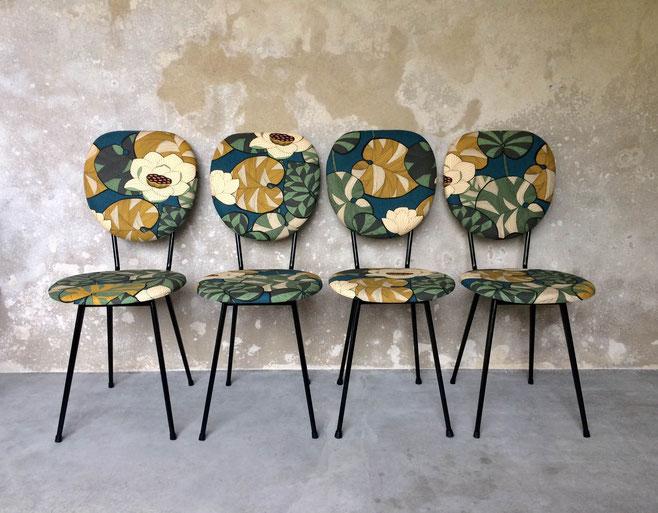 chaises vintage, Inkfabrik, Thévenon, Idris, pieds compas