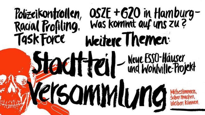 Mobilisering til et bydelsmøde i Hamburg