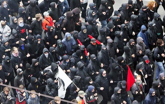 Den autonome, venstreradikale blok under G8-topmødet i Heiligendamm / Tyskland
