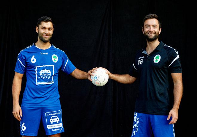 Teamkapitän Marvin Link und Trainer Franziskus Bleck wollen auch in der Verbandsliga immer am Ball bleiben