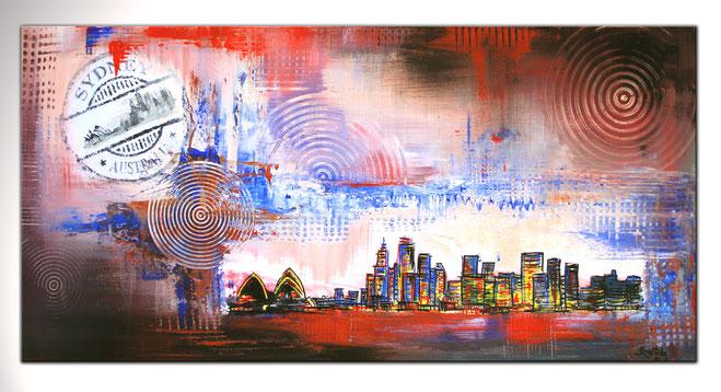Sydney - Stadtbild mit Umdruck - Stadt Städte Gemälde Bilder Malerei kaufen
