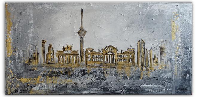 Berlin Wandbild Skyline gold grau Strukturbild Malerei Acrylbild Leinwand 100x50