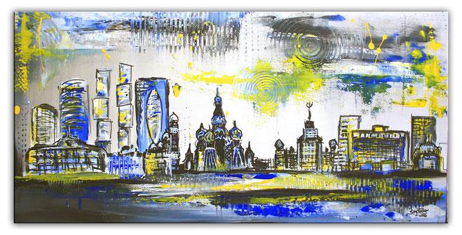 Moskau Skyline - Stadtbild, Stadtmalerei - Stadt Städte Gemälde Bilder Malerei kaufen