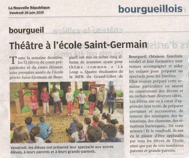 Les élèves de CAP Petite Enfance ont joué à l'école Saint Germain de Bourgueil