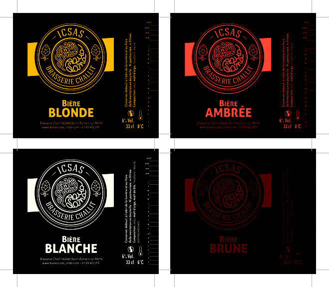 Etiquettes bière blonde blanche ambrée brune Roanne
