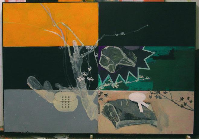 """Hanami 2007"",2007, Öl auf Karton (montiert) 130 x 190 cm."