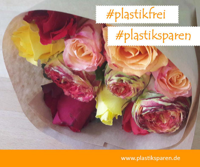 Plastik sparen, plastikfrei, Petra Kress, Frankfurt, unverpackt, Blumen,