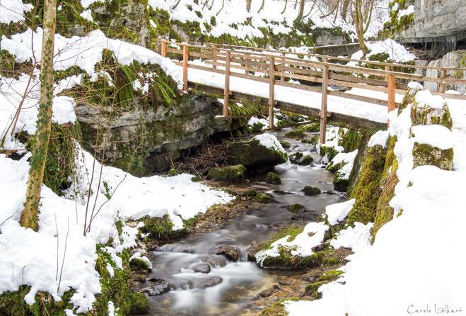 Schluchtidylle mit der Brücke, dem Moos und dem Bächlein