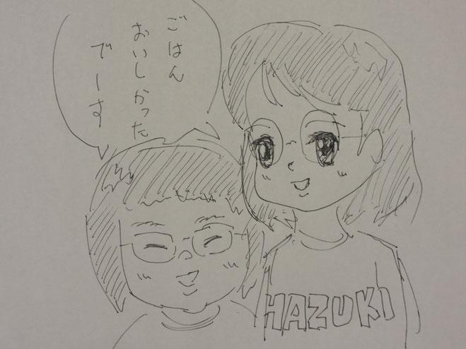 この度は、お嬢さんお二人の似顔絵を書いて下さいました☆☆